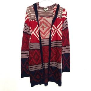 Pacsun Long Acrylic Tribal Print Cardigan Sweater